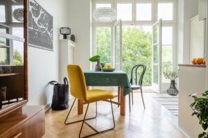 Stylishly decorated apartment kitchen with balcony